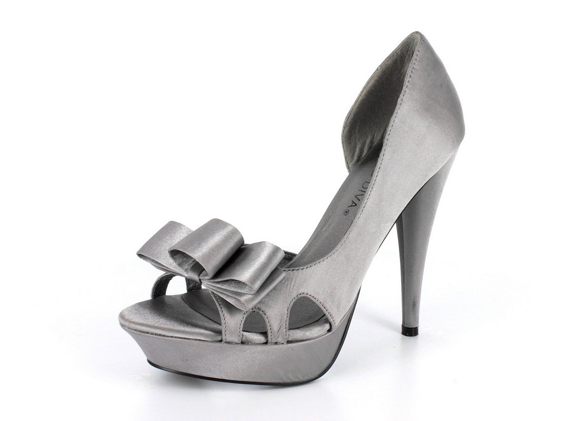 NEW Gray Satin Bow Platform High Heel Shoes