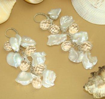 Sterling Silver Keshi Pearls Glass Crystal Earrings