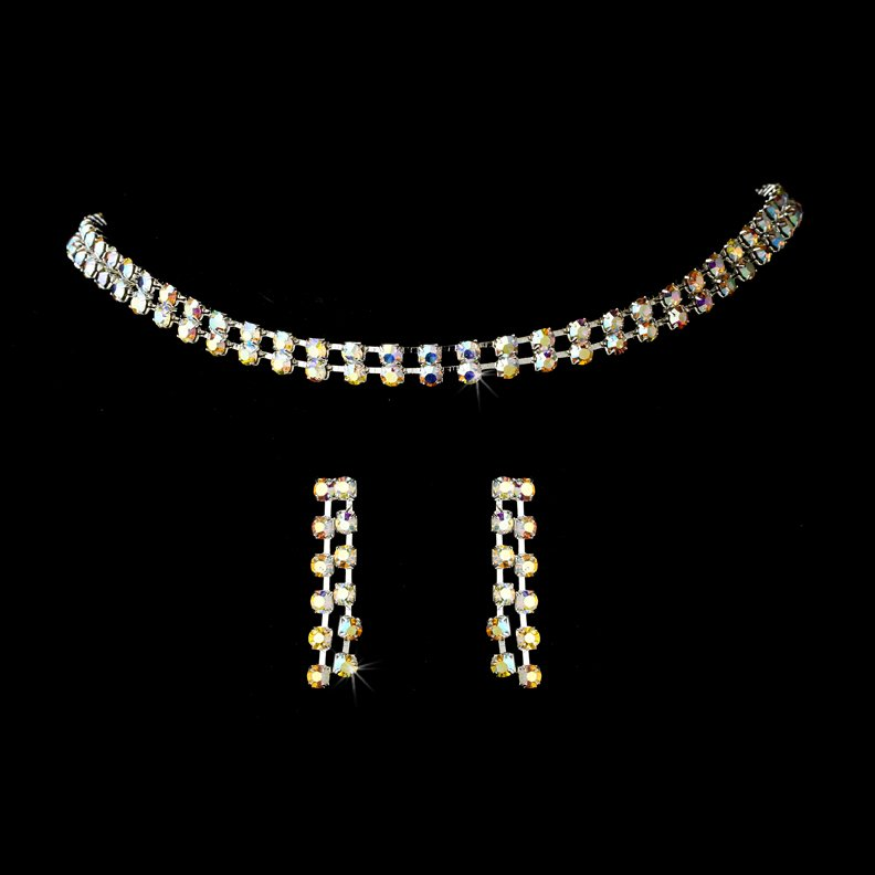 Silver AB Crystal Double Strand Necklace Earring Set