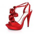 NEW Red Satin Zipper Ruffle Platform High Heel Shoes