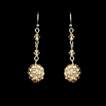 Gold Clear Rhinestone Drop Earrings
