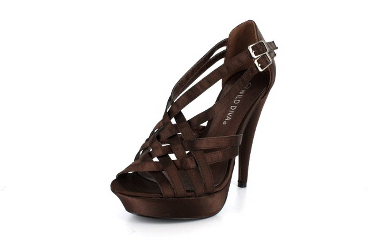 NEW Brown Satin Weaved Straps Platform High Heel Shoes