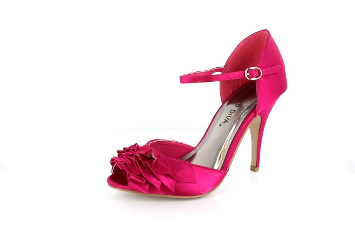NEW Hot Pink Satin Ruffled Peep Toe High Heel Shoes