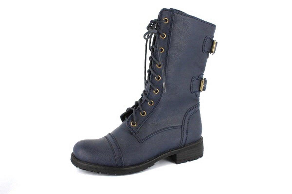 NEW Blue Womens Designer Combat Boots Shoes