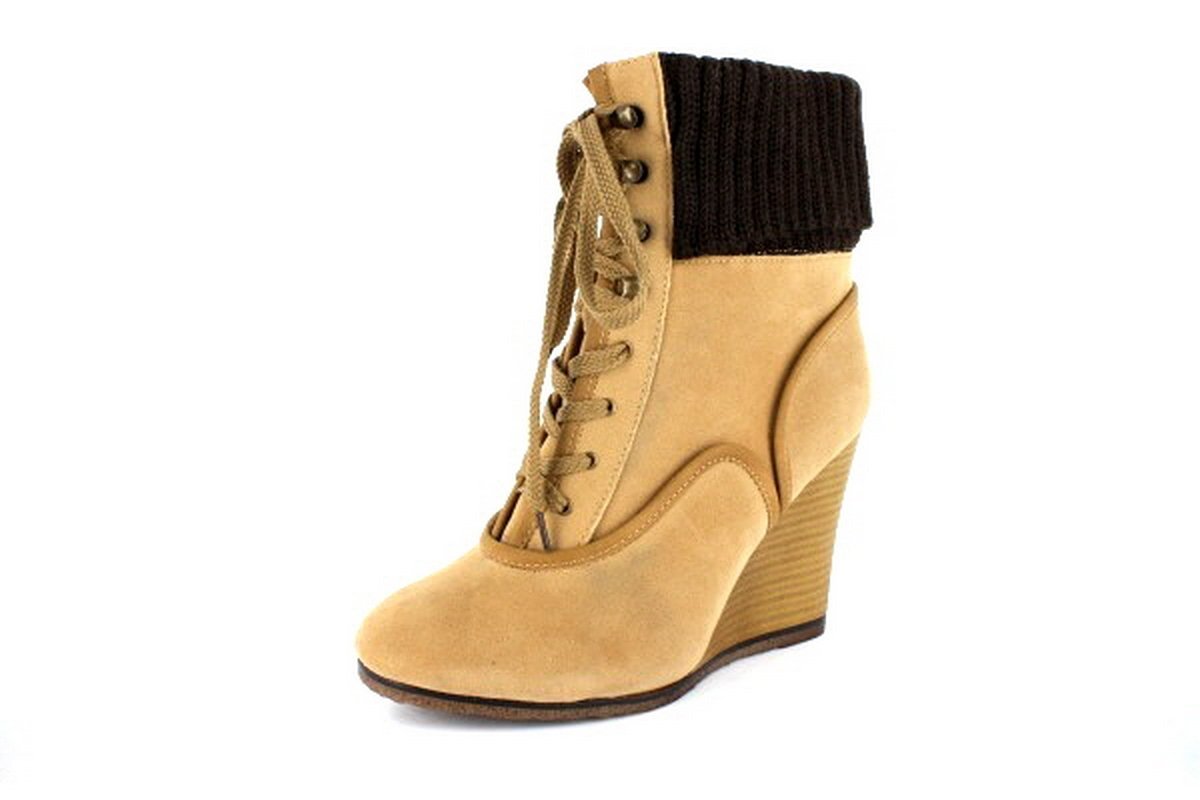 NEW Tan Lace Up Womens Wedge Ankle Boots Shoes