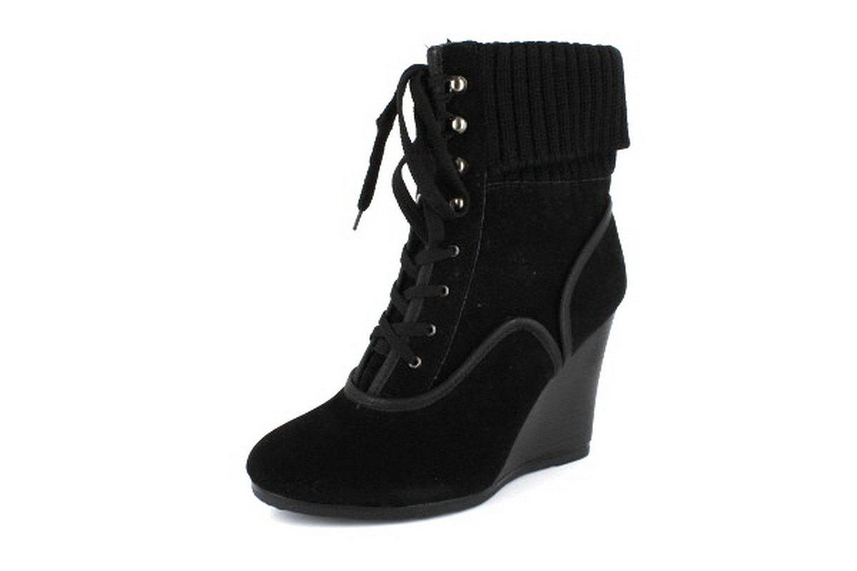 NEW Black Lace Up Womens Wedge Ankle Boots Shoes