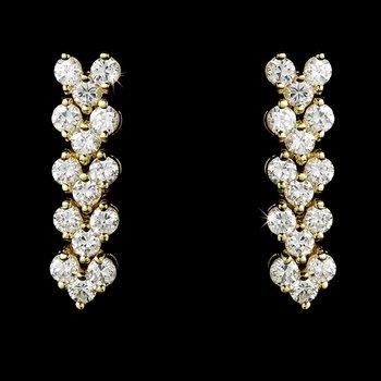 Gold Bridal Wedding Cubic Zirconia Earrings