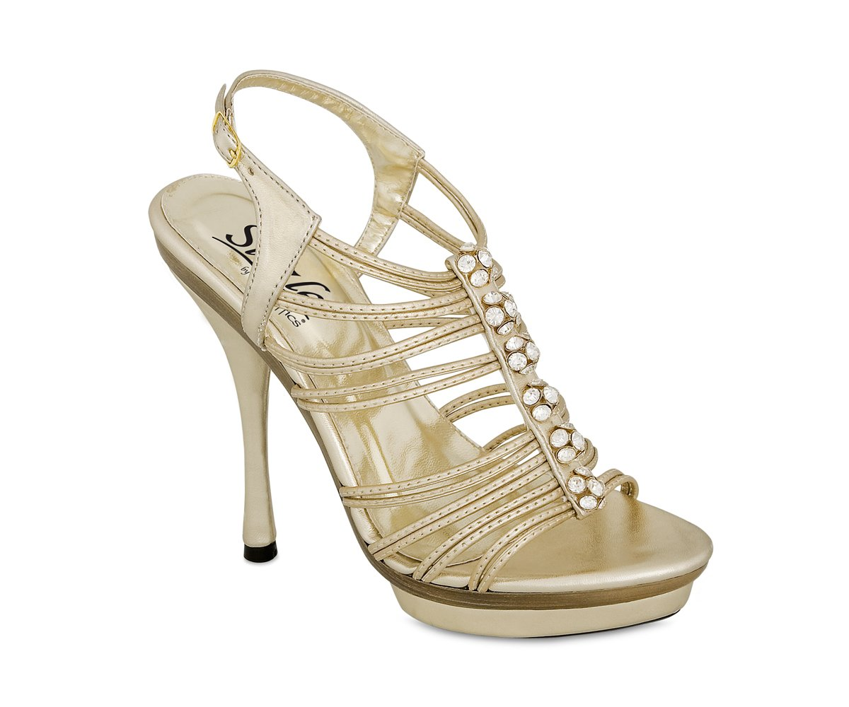 Gold Metalllic Strapy Stiletto High Heel Dress Shoes