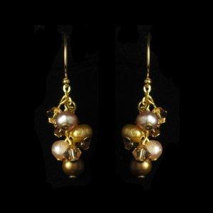 Gold Brown Freshwater Pearl Swarovski Crystal Earrings