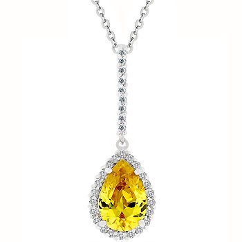 NEW White Gold Yellow CZ Drop Pendant Necklace