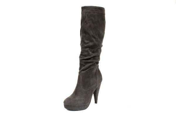 NEW Gray Ruched Suede Platform Knee High Womens Boots