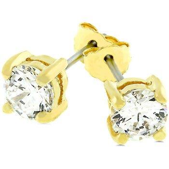 NEW 14k Gold 925 Sterling Silve r5mm Stud Earrings