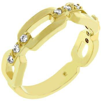 14k Gold Bonded Link Ring CZ in Goldtone 5