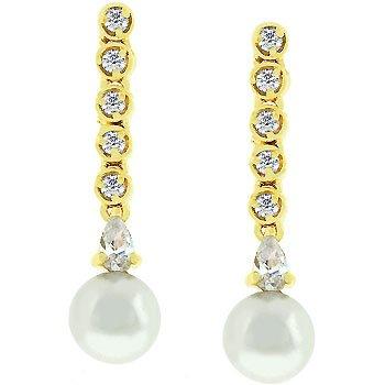 NEW 14k Gold Bonded CZ Earring DropsTahitian Pearl