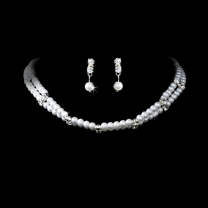 Silver Rhinestone White Pearl Necklace Earring Set