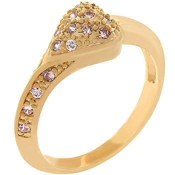 NEW 14k Rose Gold Pink Ice CZ Heart Shape Ring