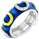 NEW 14K White Gold Drk Blue Enamel Stacker Ring