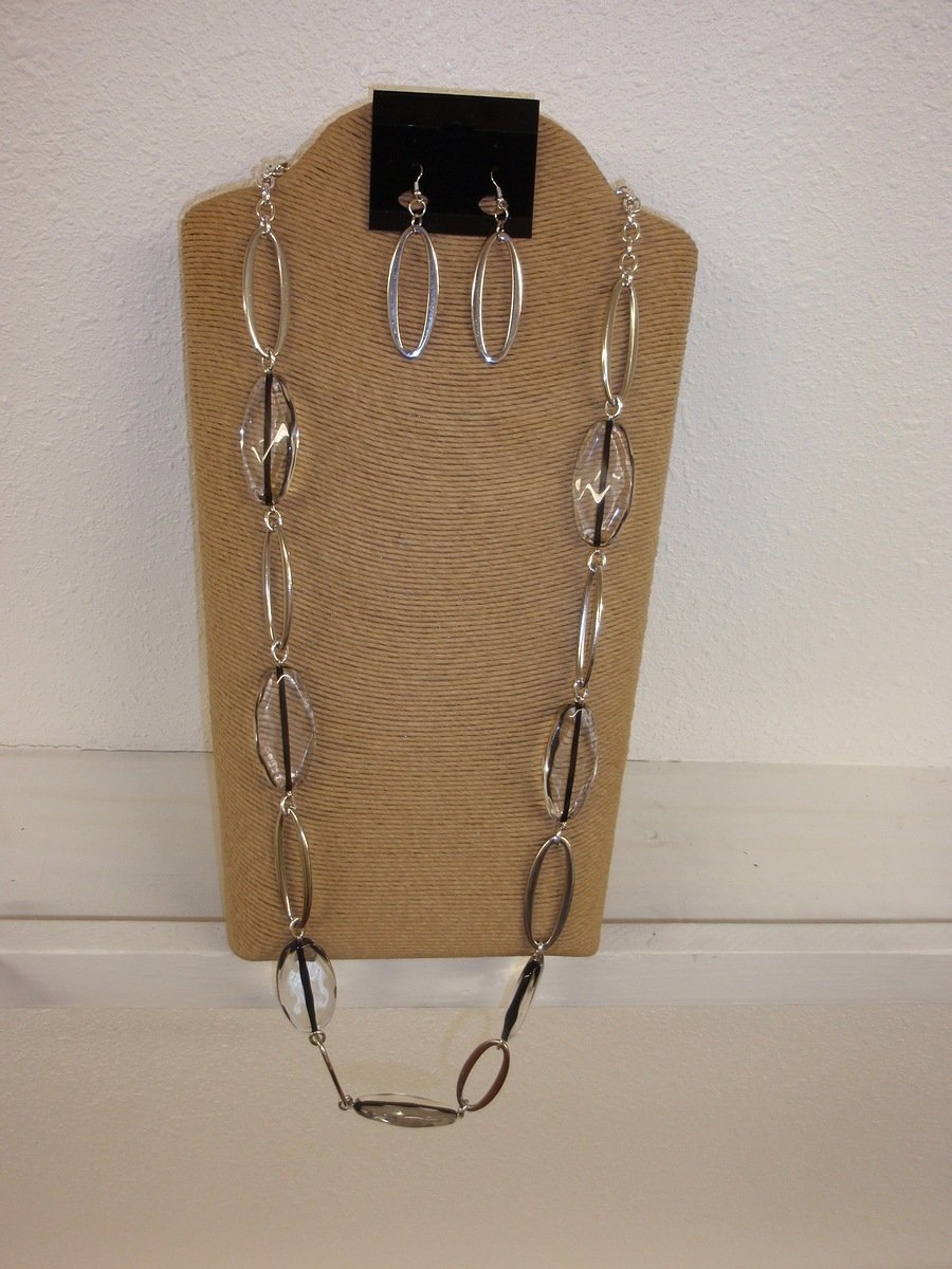 """Silver Chain Resin Oval Beads Necklace Earring Set 30"""""""