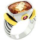 NEW 14K Gold White Gold Champagne CZ Ring