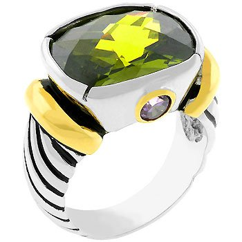 NEW 14K Gold White Gold Olive CZ Ring