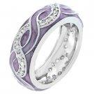 NEW White Gold Silver Lavender Enamel Stacker Ring