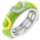 NEW 14K White Gold Light Green Enamel Stacker Ring