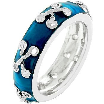 NEW White Gold Silver Navy Blue Enamel Band Ring