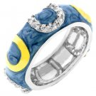 NEW 14K White Gold Lght Blue Enamel Stacker Ring