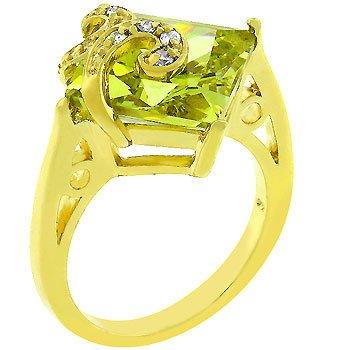 NEW 14k Gold Princess Cut Peridot CZ Ring