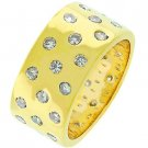 NEW 14K Gold Eternity 3 Row CZ Band Ring