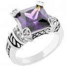 NEW White Gold Cable Amethyst CZ Princess Ring