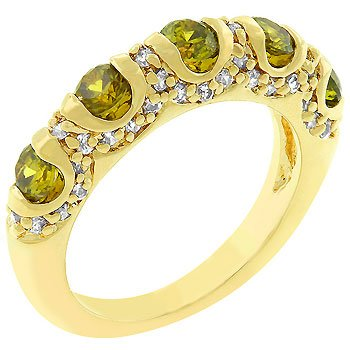 NEW 14K Gold Olive Cubic Zirconia Fusion Ring