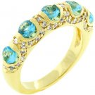 NEW 14K Gold Aqua Blue CZ Fusion Ring