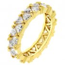 NEW 14K Gold Trillion Cut Clear CZ Eternity Ring