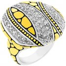 NEW 14K Gold Silver Black Antique Clear CZ Dome Ring