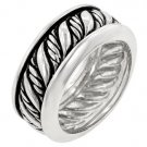 NEW White Gold Silver Antique Black Accent Ring
