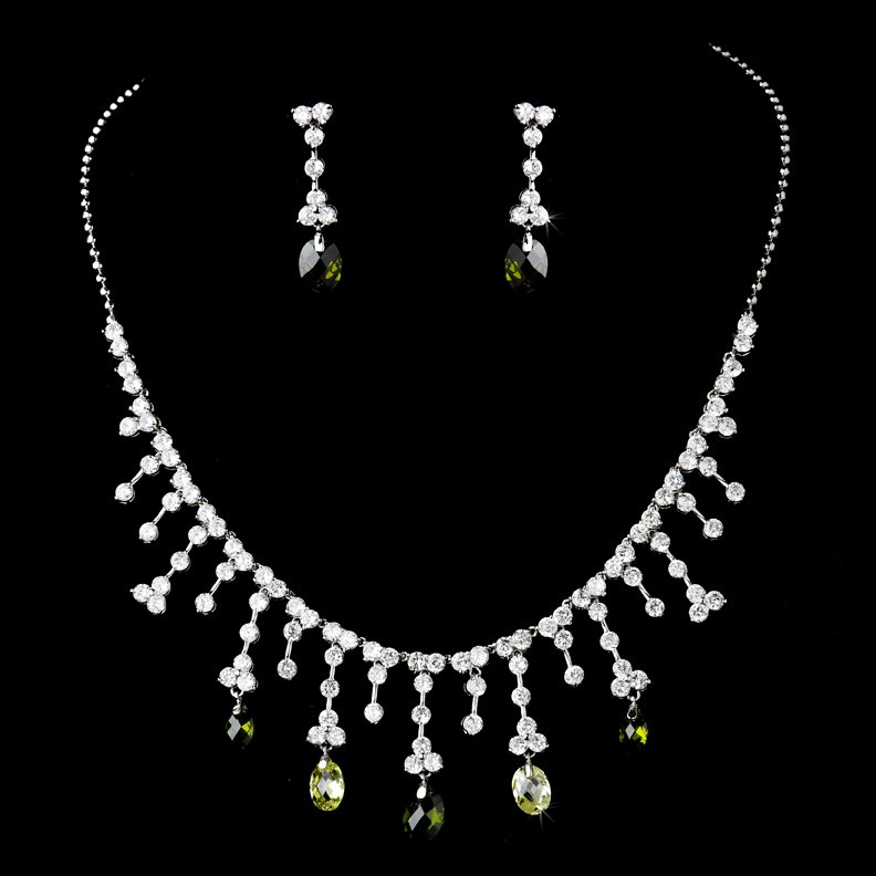 Silver Clear Olive CZ Necklace Earring Set