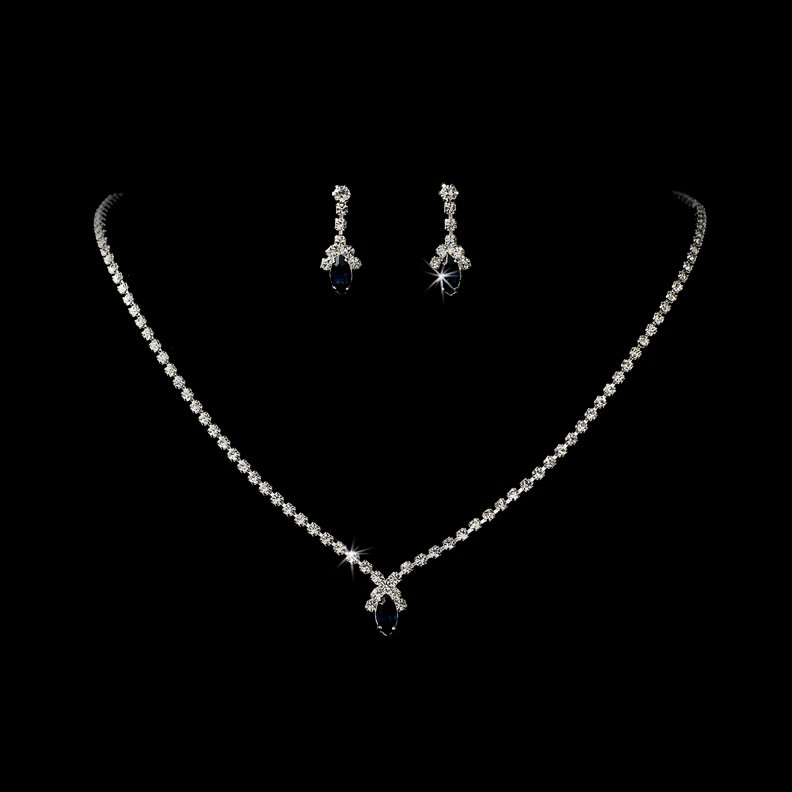 Silver Navy Crystal Rhinestone Necklace Earring Set