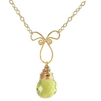 NEW 14k Gold Lemon Quartz Necklace Pendant