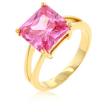 NEW 14kt Gold 8 Carat Pink CZ Solitaire Ring