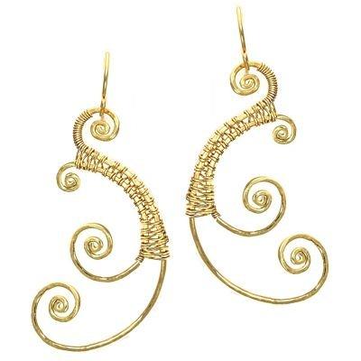 Calico Juno 925 Sterling Silver Wired  Swirl Earrings