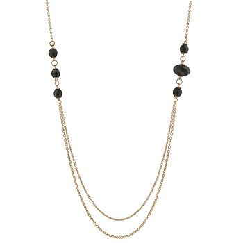 NEW 14K Gold Double Chain Onyx Beads Necklace
