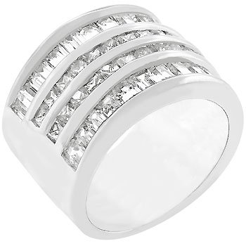 White Gold 4 Rows Cubic Zirconia Silver Ring