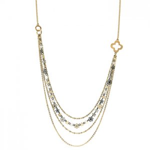 NEW 14K Gold Silver Enamel Flower Necklace Chain