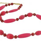 Joan Rivers Pink Wood Glass Bead Necklace Strand 15""