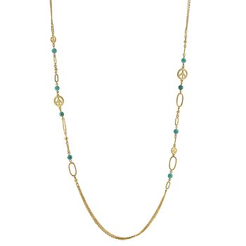 New 14K Gold Peace Charm Turquoise Fashion Necklace