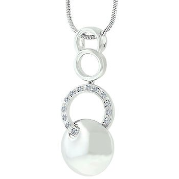 NEW White Gold Silver Circle Pendant Necklace