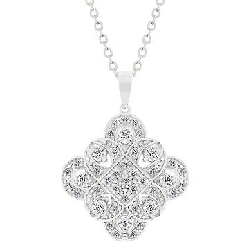 NEW White Gold Silver Edwardian Pendant Necklace