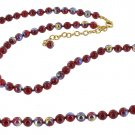 Joan Rivers Red Iridescent Beads Necklace Strand 18""