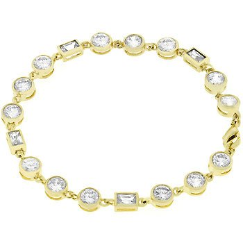 NEW 14K Gold Round Cut Cubiz Zirconia Bracelet